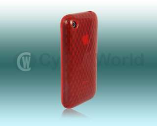 NEW RED DIAMOND DESIGN GEL CASE FOR APPLE IPHONE 3 3GS