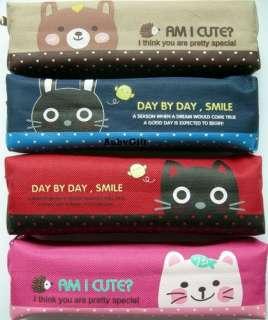 Lovely Animal Cat & Bear Beauty Cosmetic / MakeUp Bag / Pencil Pen
