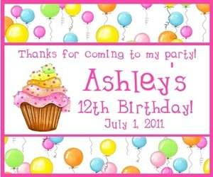 30 Personalized Birthday Balloons Gift Bag Labels