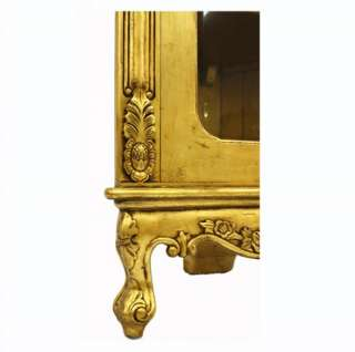 French Furniture designer Gold Display Corner Cabinet Armoire dining