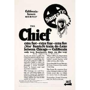 1926 Ad Chief Santa Fe Grand Canyon Native American Indian