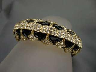 JAY LANE *COUTURE* BLACK & GOLD CRYSTAL ART DECO BANGLE BRACELET NEW