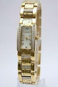 New Elgin Women Austrian Crystal Gold Bracelet Pearl Watch 17mm x 24mm