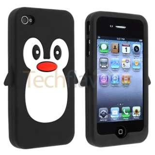 CUTE LOVELY GIFT PENGUIN ANIMAL SOFT CASE COVER SILICONE FOR IPHONE 4