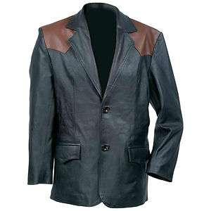 Mens Western Style Genuine Cowhide Leather Sport Jacket   Blazer