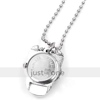 Fashion Metal Silver Skull Pocket Watch Necklace Chain