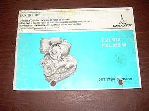 DEUTZ F2L 912 F2L 912 W AIR COOLED DIESEL ENGINE PARTS MANUAL