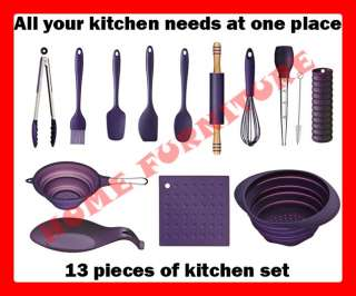 13 PC PIECE PURPLE SILICONE KITCHEN COOKING TOOL SET