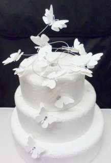 white BUTTERFLY SWIRL birthday wedding cake topper decoration