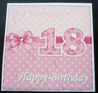 Pretty Sister 18th Birthday Card   3 colours