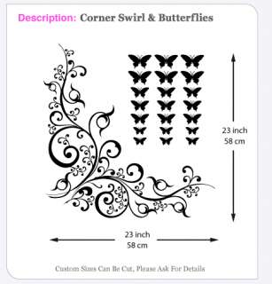CORNER SWIRL & BUTTERFLY wall stickers graphic decal