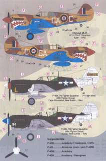FCM Decals 1/72 CURTISS P 40 WARHAWK Part 2