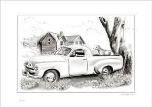 FJ UTE & CATTLE DOG RUSTIC SHABBY STYLE CHIC DRAWING