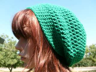 Kelly Green TAM Hat Slouchy rasta Hippie Crochet M/L