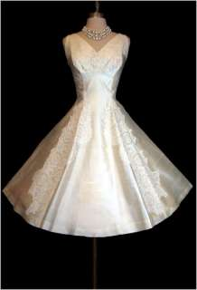 Vintage 50s 60s IVORY SILK Lace Couture Wedding Party MONTALDOS Dress