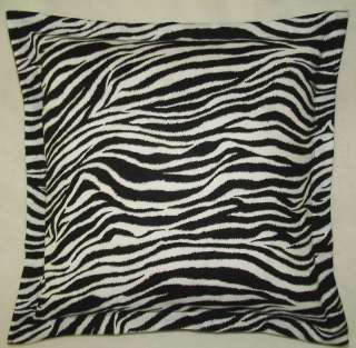 BLACK WHITE STRIPE ZEBRA ANIMAL PRINT PILLOW SHAMS
