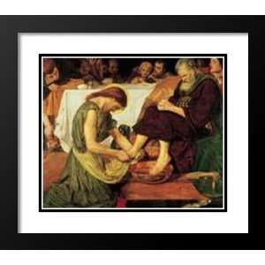 Brown Framed and Double Matted Art 31x37 Jesus Washing Peter