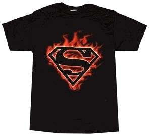 SUPERMAN LOGO FLAMES T SHIRT NEW