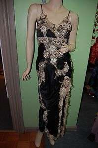 GENUINE SUE WONG Black Lace Applique Beaded Embroidery Draped Silk