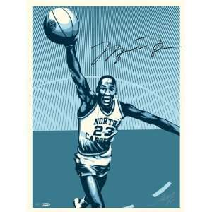 Michael Jordan, Shepard Fairey Dual Autographed North Carolina 26x36