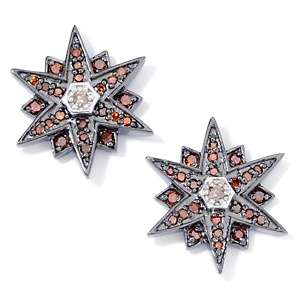 34ct Diamond Sterling Silver Star Stud Earrings