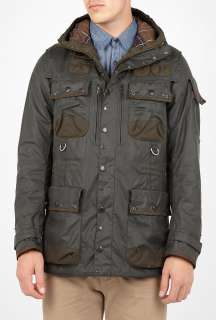sage green waxed multi pocket military jacket $ 204 88 was $ 686 12 70