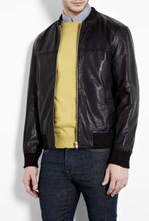 PS Paul Smith  Black Washed Leather Zip Bomber by PS Paul Smith