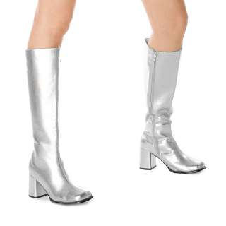 Silver Gogo Boots Adult   Includes: One pair of adult knee high wide