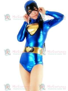Royal Blue And Gold Shiny Metallic Super Hero Catsuit