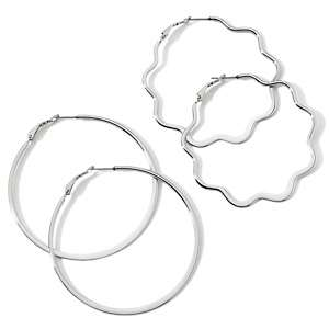 Stately Steel Inside Outside Crystal Hoop Earrings