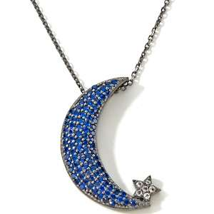 75ct Created Blue Spinel and White Topaz Crescent Moon Pendant