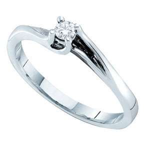 1/10 Carat Diamond 14k White Gold Solitaire Promise Ring