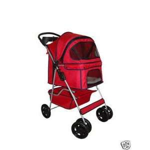 Classic Red 4 Wheel Pet Stroller