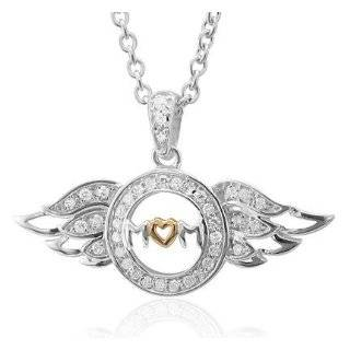 Sterling Silver Heart Love Angel Wing Mothers Day Diamond