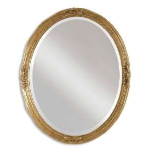 31 Gold Finish with Antique Veining Oval Wall Mirror