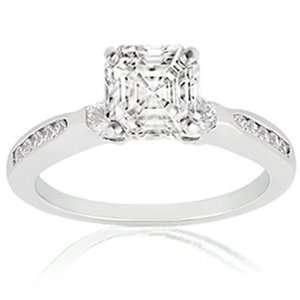 0.70 Ct Asscher Cut Diamond Engagement Ring CUT VERY GOOD