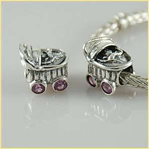 style European charm bead sterling silver baby carriage pink stones