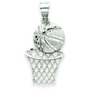 White Gold Diamond Cut Basketball & Hoop Pendant Shop4Silver Jewelry