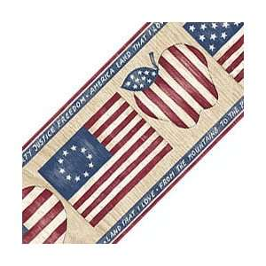 American Flag Wallpaper Border   Country Hearts Decor Wall Border Roll
