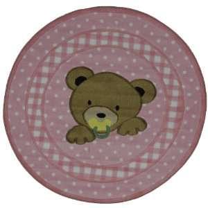 Round Teddy Bear Area Rug Pink 39