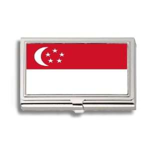 Singaporean Flag Business Card Holder Metal Case Office Products