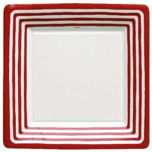 Stripe Border Red 10 inch Square Paper Plate Kitchen