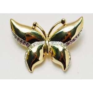 Amethyst Purple Clear Crystal Rhinestone Butterfly Moth Pin Brooch