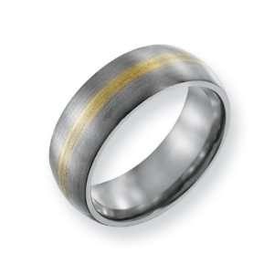 com Titanium 14k Gold Inlay 8mm Brushed Comfort Fit Wedding Band Ring