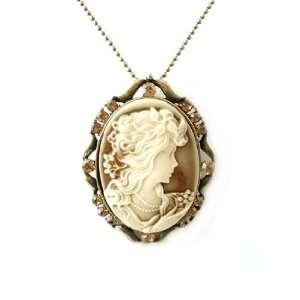 Fashion Jewelry ~ Topaz Rhinestones Cameo Necklace