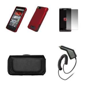 Motorola Droid X MB810 Premium Black Leather Carrying Case