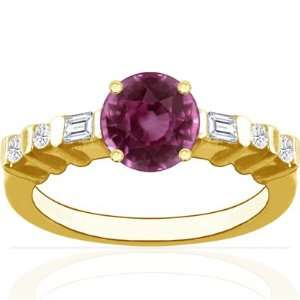 14K Yellow Gold Round Cut Pink Sapphire Ring With Sidestones Jewelry