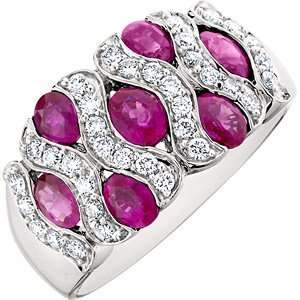 2.51 Carat 14kt White Gold Ruby and Diamond Ring Jewelry
