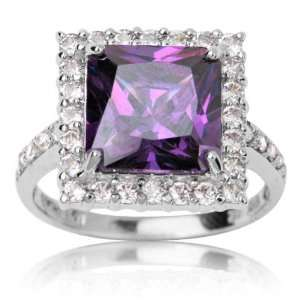 10k White Gold and Square Cut Purple Cubic Zirconia Socialite Ring 5.5