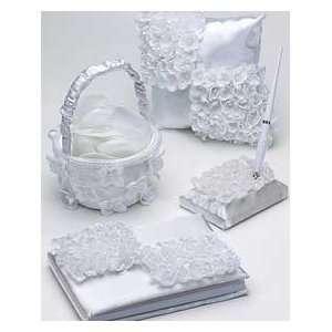 4 piece White Floral Bridal Wedding Accessory Set